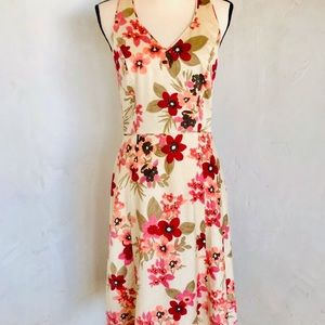Beautiful LOFT Cream Floral Halter Dress-Sz 4